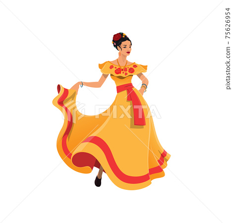 Dancer lady in tobasco dress mexican cartoon woman 75626954