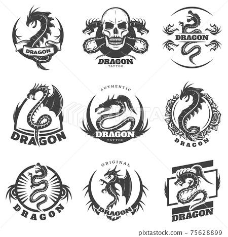 Vintage Monochrome Dragon Tattoo Labels Set 75628899