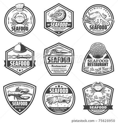 Vintage Monochrome Seafood Labels Set 75628950