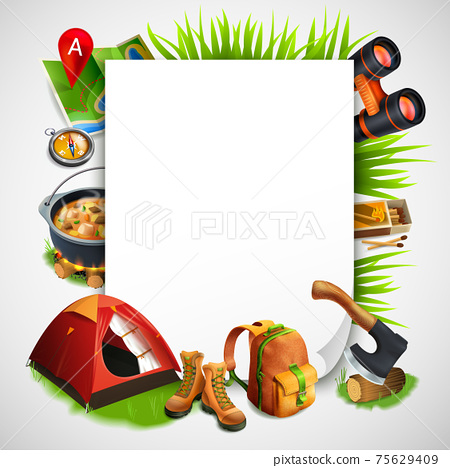 Camping Realistic Frame 75629409