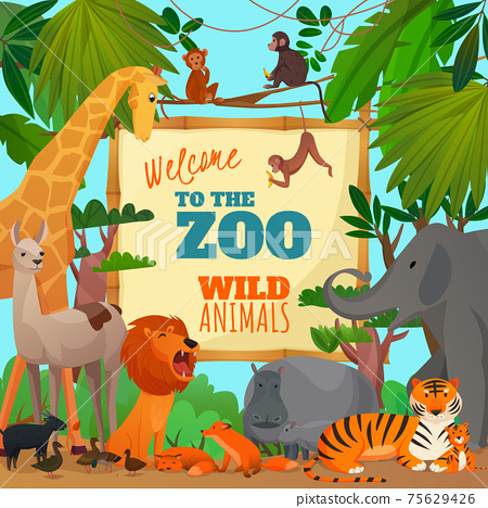 Welcome To Zoo Cartoon Poster 75629426