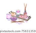 watercolor SPA set. Bath collection of oil, flower, salt, towel, stones, candels, aroma stiks. 75631359