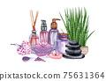 watercolor SPA set. Bath collection of oil, flower, salt, towel, stones, candels, aroma stiks. 75631364