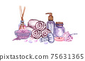 watercolor SPA set. Bath collection of oil, flower, salt, towel, stones, candels, aroma stiks. 75631365