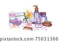 watercolor SPA set. Bath collection of oil, flower, salt, towel, stones, candels, aroma stiks. 75631366