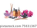watercolor SPA set. Bath collection of oil, flower, salt, towel, stones, candels, aroma stiks. 75631367