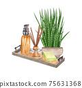 watercolor SPA set. Bath collection of oil, flower, salt, towel, stones, candels, aroma stiks. 75631368