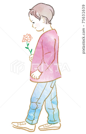 Illustration of a child walking with flowers 75631639