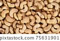 Raw cashews nuts, top down view. 75631901