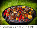 Top view of fresh meat and vegetable on grill 75631913