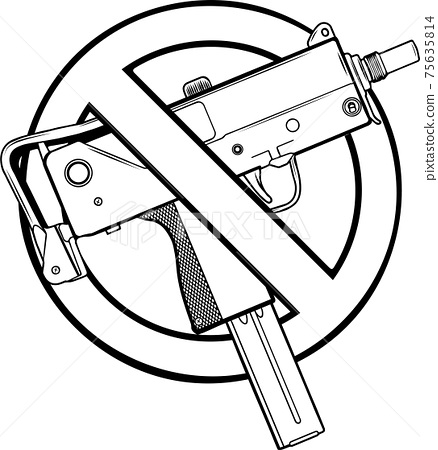 draw in black and white of vector illustration no guns or firearms allowed 75635814