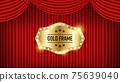 矢量圖的紅色帷幕上的金色標籤 75639040