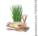 watercolor SPA set. Bath collection of oil, flower, salt, towel, stones, candels, aroma stiks. 75646018