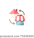 House and shop. Home shopping concept. Flat color icon. Commerce vector illustration 75646994