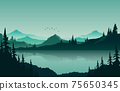 Lake Mountain Panorama Landscape in Green Monochrome Flat Illustration 75650345