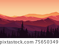 Beautiful Pine Forest Mountain Panorama Landscape Flat Illustration 75650349