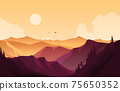 Beautiful Pine Forest Mountain Panorama Landscape Flat Illustration 75650352