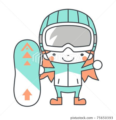 單板滑雪女孩單板滑雪圖 75650393