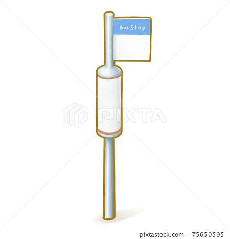 Bus stop, a digital painting of blue bus station parking sign isometric cartoon icon raster 3D illustration on white background. 75650595
