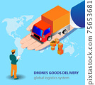 Vector picture with a global delivery system for goods and services. Hand of the serving car with the ordered cargo 75653681