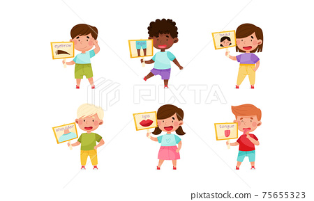 Cute Boy and Girl Character Holding Card with Body Part Picture Vector Set 75655323