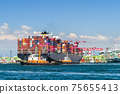 The container ship into the port of Kaohsiung, Taiwan. 75655413