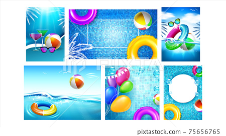 Water Park And Pool Party Promo Banners Set Vector 75656765
