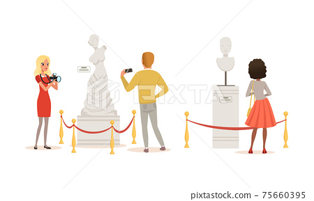 People Admiring Sculptures at Exhibition, Visitors Viewing Exhibits at Classic Art Gallery or Museum Cartoon Vector Illustration 75660395