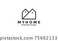 Letter M simple home house logo vector symbol icon design illustration 75662133