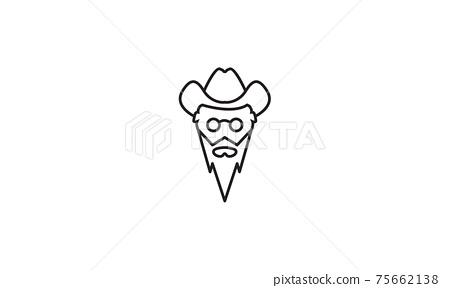 head man lines with long beard logo vector symbol icon design illustration 75662138
