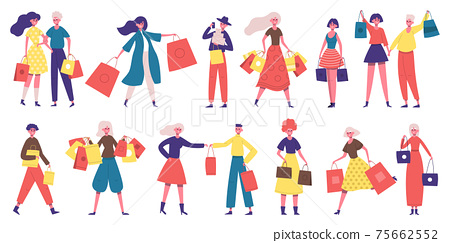 Shopping people. Shopaholic male and female characters, people buy clothes, food or presents. People with shopping bags vector illustration set 75662552
