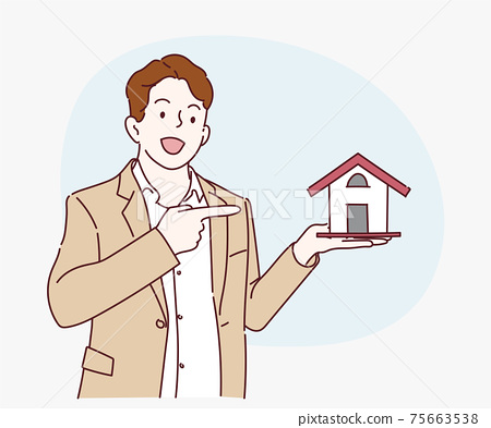 Young business man holding home model and presenting with hand and pointing with finger. Hand drawn in thin line style, vector illustrations. 75663538