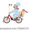 Funny pizza chef on bicycle or bike Pizza delivery 75664373