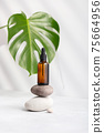 Bottle of dark amber glass with essential oil and tropical leaf 75664956