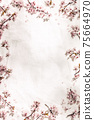 Spring border with cherry blossoms on white linen napkin 75664970