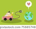 一個女人駕駛電動汽車和幸福的地球 75665748