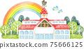 彩色玻璃和風見雞的建築物上空的彩虹 75666125
