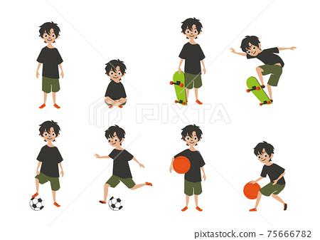 插圖素材參加體育運動的男孩滑板籃球足球 75666782