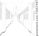 學校走廊卡通風格背景素材 75667487