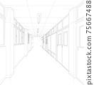 學校走廊卡通風格背景素材 75667488