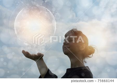 生態形象・試圖接觸地球的女人的CG 75668144