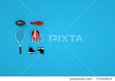 Set of 3D sports accessories. Isometric models of a ball, tennis racket, hockey helmet, and skates on a blue background. Computer graphics. 75669924