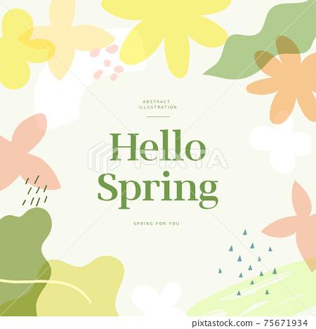 春天,春天的花朵,抽象,框架,模板 75671934