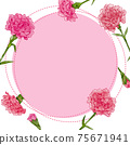 Fashionable frame material of carnation, watercolor hand-drawn illustration of flowers 75671941