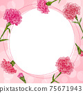 Fashionable frame material of carnation, watercolor hand-drawn illustration of flowers 75671943