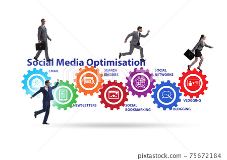 Social media optimisation concept with business people 75672184