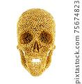 Golden Carved Skull On White Background 75674823
