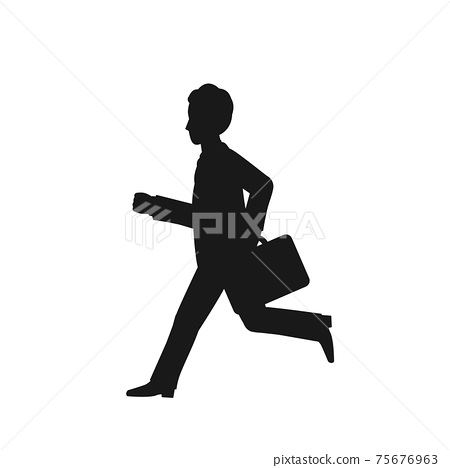 Running office worker silhouette commuting attendance sales whole body illustration material 75676963