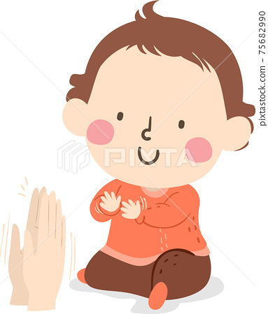 Kid Toddler Gesture Clapping Hands Illustration 75682990