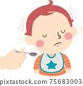 Kid Toddler Boy Gesture Shake Head No Illustration 75683003